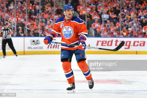 Andrej Sekera of the Edmonton Oilers skates during Game One of the Western Conference First Round during the 2017 NHL Stanley Cup Playoffs against...
