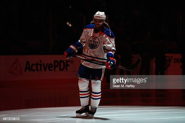 Andrej Sekera of the Edmonton Oilers skates during introductions prior to a game against the Anaheim Ducks at Honda Center on November 11 2015 in...