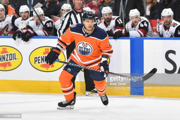 Andrej Sekera of the Edmonton Oilers skates during the game against the Arizona Coyotes on February 19 2019 at Rogers Place in Edmonton Alberta Canada