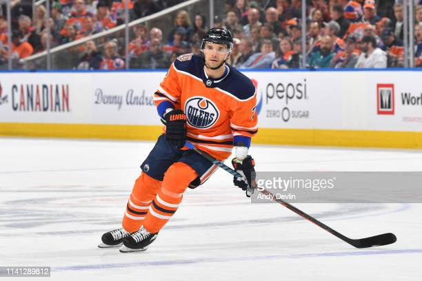 Andrej Sekera of the Edmonton Oilers skates during the game against the San Jose Sharks on April 4 2019 at Rogers Place in Edmonton Alberta Canada