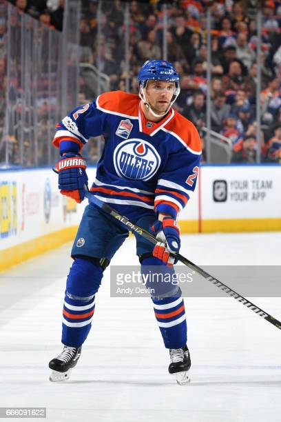 Andrej Sekera of the Edmonton Oilers skates during the game against the Boston Bruins on March 16 2017 at Rogers Place in Edmonton Alberta Canada