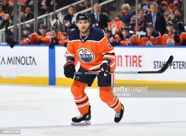 Andrej Sekera of the Edmonton Oilers skates during the game against the St Louis Blues on December 21 2017 at Rogers Place in Edmonton Alberta Canada