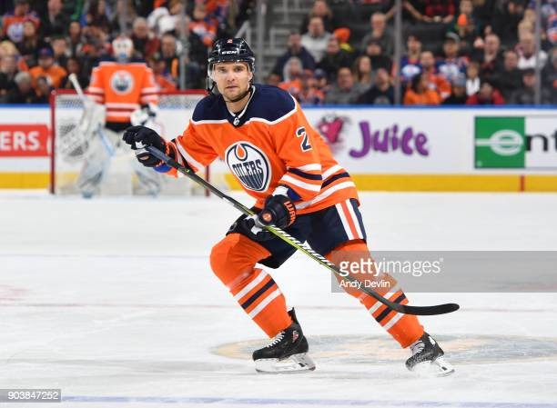 Andrej Sekera of the Edmonton Oilers skates during the game against the Anaheim Ducks on January 4 2018 at Rogers Place in Edmonton Alberta Canada