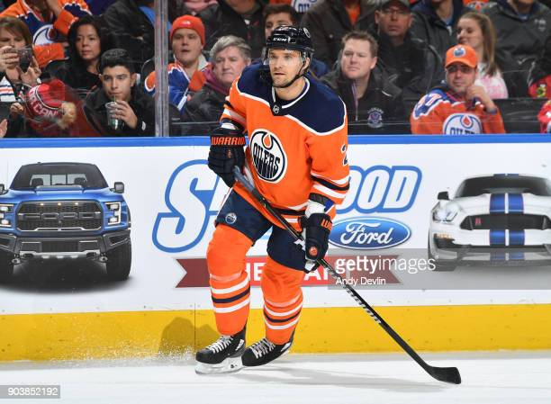 Andrej Sekera of the Edmonton Oilers skates during the game against the Chicago Blackhawks on December 29 2017 at Rogers Place in Edmonton Alberta...