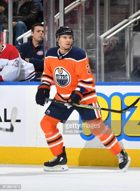 Andrej Sekera of the Edmonton Oilers skates during the game against the Montreal Canadiens on December 23 2017 at Rogers Place in Edmonton Alberta...