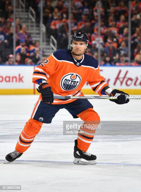 Andrej Sekera of the Edmonton Oilers skates during the game against the Buffalo Sabres on January 23 2017 at Rogers Place in Edmonton Alberta Canada