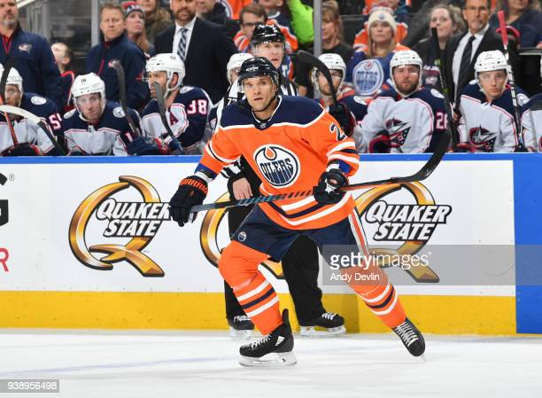 Andrej Sekera of the Edmonton Oilers skates during the game against the Columbus Blue Jackets on March 27 2018 at Rogers Place in Edmonton Alberta...