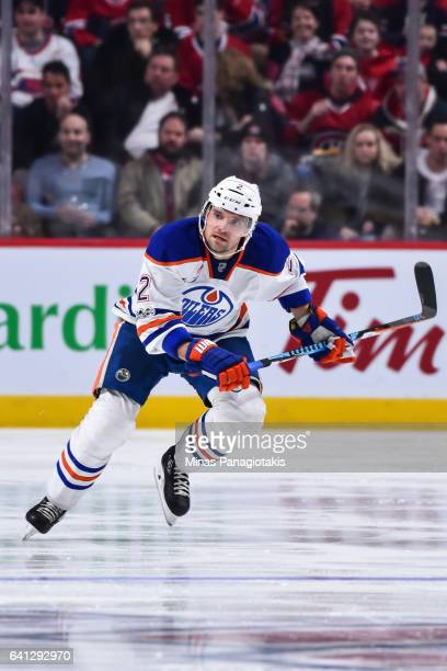 Andrej Sekera of the Edmonton Oilers skates during the NHL game against the Montreal Canadiens at the Bell Centre on February 5 2017 in Montreal...