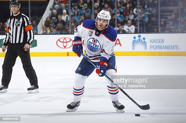 Andrej Sekera of the Edmonton Oilers skates with the puck against the San Jose Sharks at SAP Center on December 23 2016 in San Jose California