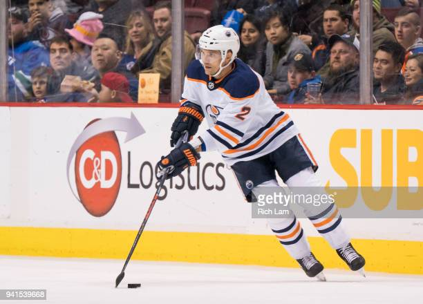 Andrej Sekera of the Edmonton Oilers skates with the puck in NHL action against the Vancouver Canucks on March 2018 at Rogers Arena in Vancouver...