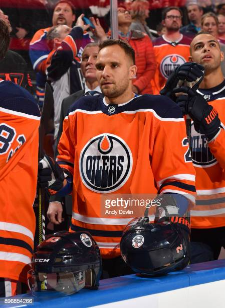 Andrej Sekera of the Edmonton Oilers stands for the singing of the national anthem prior to the game against the St Louis Blues on December 21 2017...