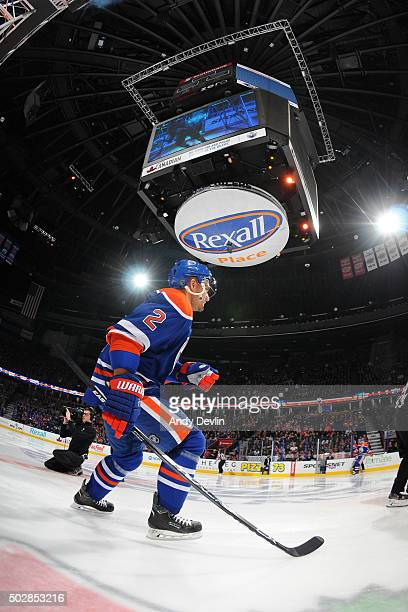Andrej Sekera of the Edmonton Oilers steps onto the ice prior to the game against the Los Angeles Kings on December 29 2015 at Rexall Place in...