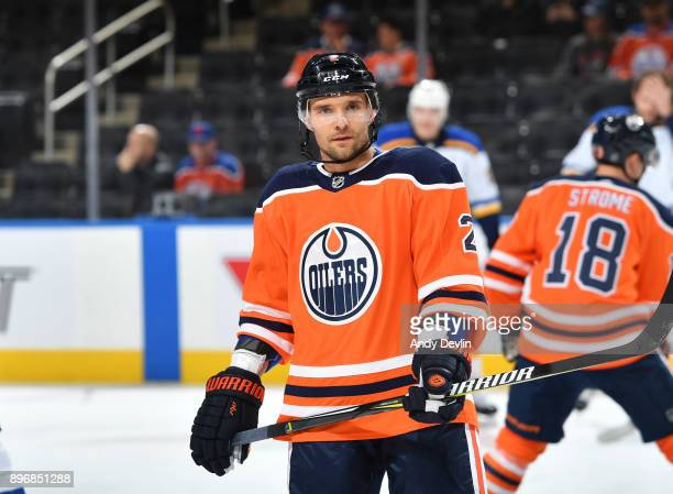 Andrej Sekera of the Edmonton Oilers warms up prior to the game against the St Louis Blues on December 21 2017 at Rogers Place in Edmonton Alberta...