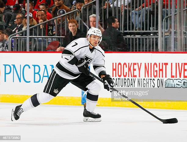 Andrej Sekera of the Los Angeles Kings controls the puck in the firstperiod against the New Jersey Devils during the game at the Prudential Center on...