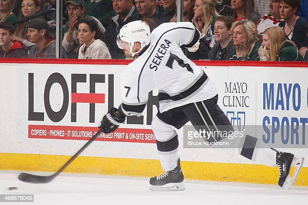 Andrej Sekera of the Los Angeles Kings passes the puck against the Minnesota Wild during the game on March 28 2015 at the Xcel Energy Center in St...