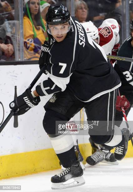 Andrej Sekera of the Los Angeles Kings plays in the game against the Arizona Coyotes at Staples Center on March 16 2015 in Los Angeles California