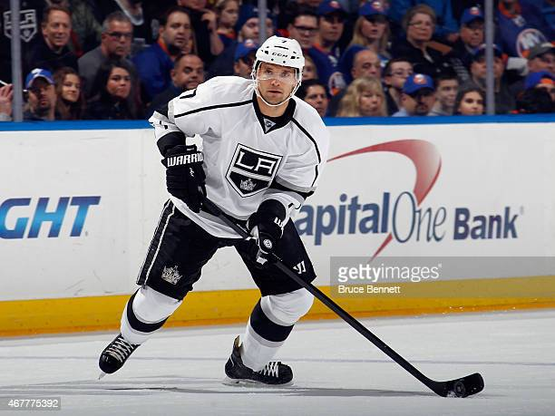 Andrej Sekera of the Los Angeles Kings skates against the New York Islanders at the Nassau Veterans Memorial Coliseum on March 26 2015 in Uniondale...