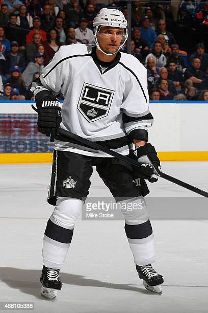 Andrej Sekera of the Los Angeles Kings skates against the New York Islanders at Nassau Veterans Memorial Coliseum on March 26 2015 in Uniondale New...