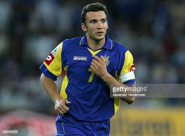 Andrej Shevchenko of the Ukraine in action during the FIFA World Cup 2006 Qualifier between Greece and Ukraine on June 8 2005 in Athens Greece