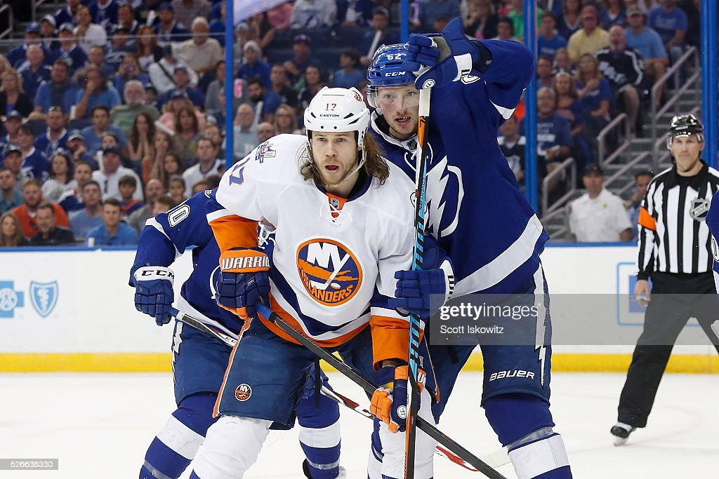 Andrej Sustr #62 of the Tampa Bay Lightning keeps Matt Martin #17 of the New York Islanders from getting position in front of the net during the first period in Game Two of the Eastern Conference Second Round during the 2016 NHL Stanley Cup Playoffs at Amalie Arena on April 30, 2016 in Tampa, Florida.