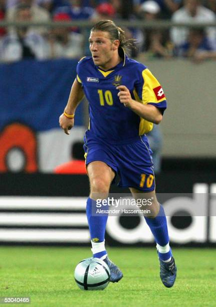 Andrej Voronin of the Ukraine in action during the FIFA World Cup 2006 Qualifier between Greece and Ukraine on June 8 2005 in Athens Greece