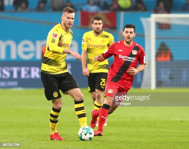 Andrej Yarmolenko of Dortmund and Kevin Volland of Leverkusen battle for the ball during the Bundesliga match between Bayer 04 Leverkusen and...
