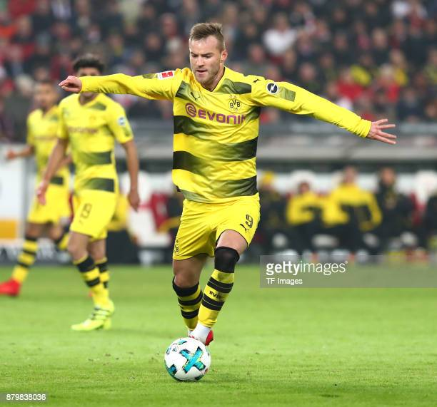 Andrej Yarmolenko of Dortmund controls the ball during the Bundesliga match between VfB Stuttgart and Borussia Dortmund at MercedesBenz Arena on...