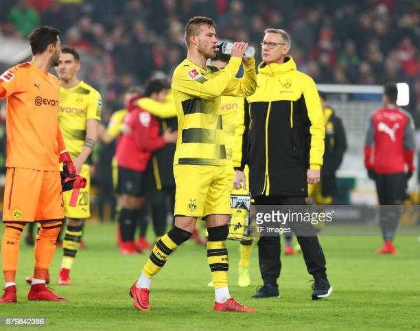 Andrej Yarmolenko of Dortmund is drinking after the Bundesliga match between VfB Stuttgart and Borussia Dortmund at MercedesBenz Arena on November 11...