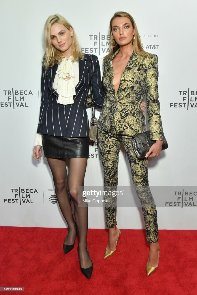 Andreja Pejic and Alina Baikova attend the screening of 'The American Meme' during the 2018 Tribeca Film Festival at Spring Studios on April 27, 2018 in New York City.