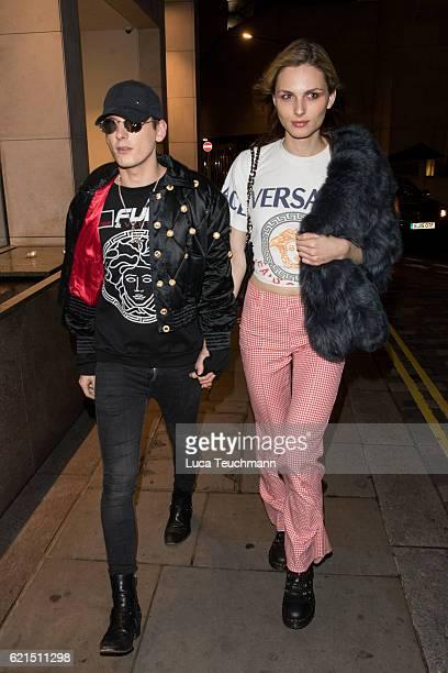 Andreja Pejic and Damon Baker are seen leaving the COMO Metropolitan London hotel on November 6 2016 in London England