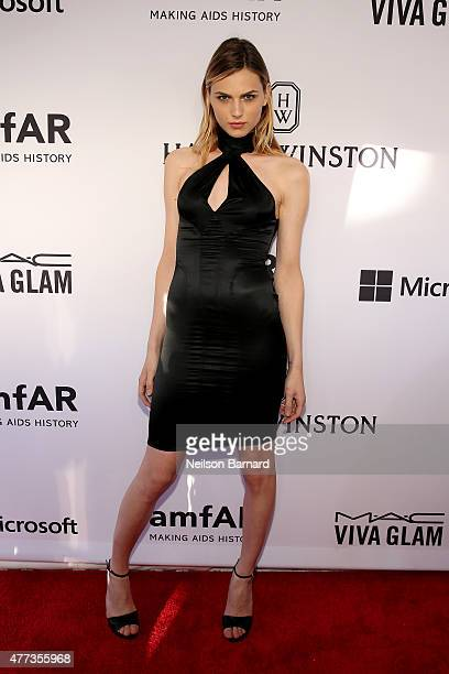 Andreja Pejic attends the 2015 amfAR Inspiration Gala New York at Spring Studios on June 16 2015 in New York City