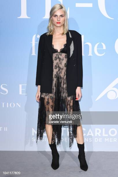 Andreja Pejic attends the Gala for the Global Ocean hosted by HSH Prince Albert II of Monaco at Opera of MonteCarlo on September 26 2018 in...