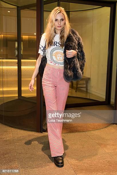 Andreja Pejic is seen leaving the COMO Metropolitan London hotel on November 6 2016 in London England