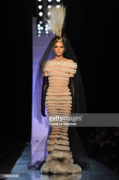 Andreja Pejic walks the runway during the JeanPaul Gaultier show as part of the Paris Haute Couture Fashion Week Spring/Summer 2011 at Atelier...