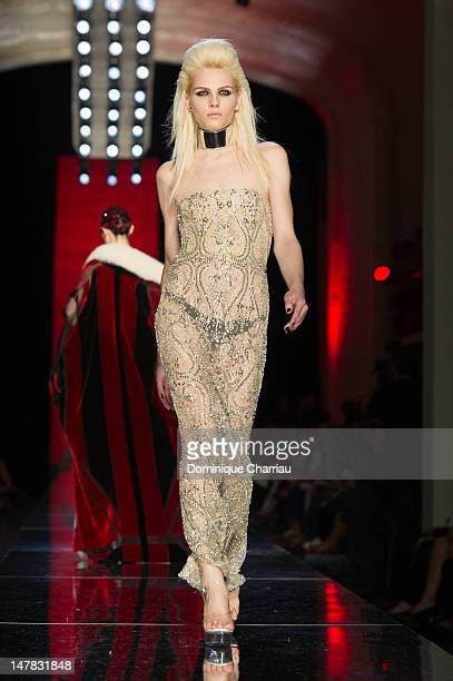 Andreja Pejic walks the runway during the JeanPaul Gaultier HauteCouture Show as part of Paris Fashion Week Fall / Winter 2013 on July 4 2012 in...