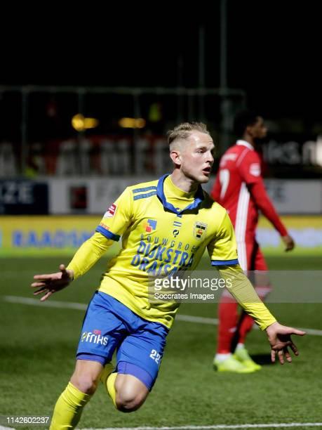 Andrejs Ciganiks of SC Cambuur celebrates goal during the Dutch Keuken Kampioen Divisie match between SC Cambuur v Almere City at the Cambuur Stadium...