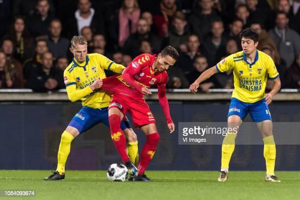 Andrejs Ciganiks of SC Cambuur Jaroslav Navratill of Go Ahead Eagles Sai van Wermeskerken of SC Cambuur during the First Division match between Go...