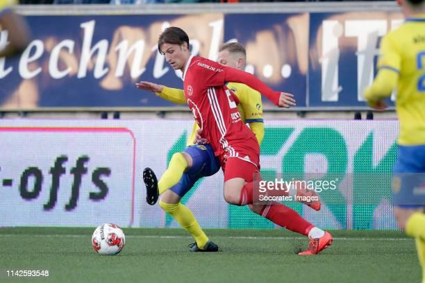 Andrejs Ciganiks of SC Cambuur Stijn Meijer of Almere City during the Dutch Keuken Kampioen Divisie match between SC Cambuur v Almere City at the...
