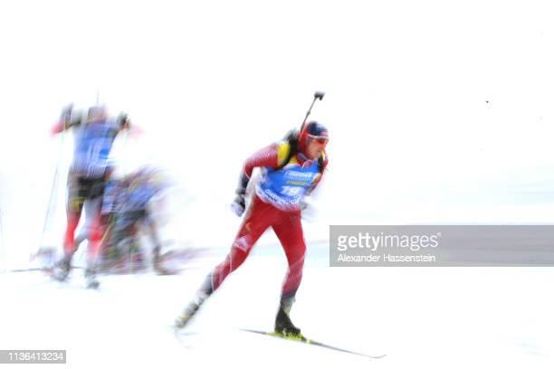 Andrejs Rastorgujev of Latvia competes at the IBU Biathlon World Championships Men's Mass Start at Swedish National Biathlon Arena on March 17 2019...