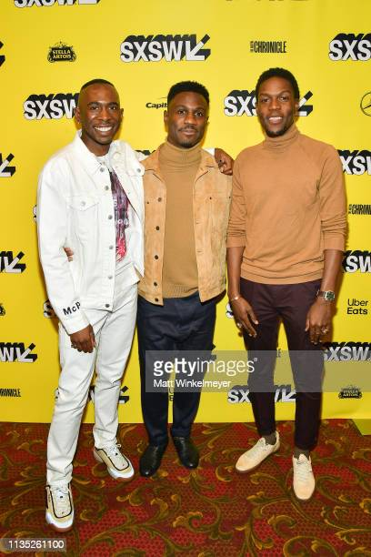 Andrel McPherson Marchánt Davis and Curtiss Cook Jr attend the The Day Shall Come Premiere 2019 SXSW Conference and Festivals at Paramount Theatre on...