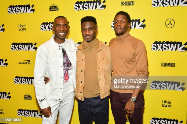 Andrel McPherson Marchánt Davis and Curtiss Cook Jr attends the The Day Shall Come Premiere 2019 SXSW Conference and Festivals at Paramount Theatre...