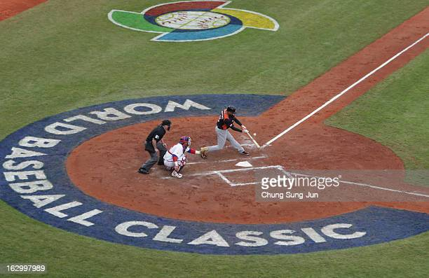 Andrelton Simmons of Netherlands bats in the third inning during the World Baseball Classic First Round Group B match between the Netherland and...