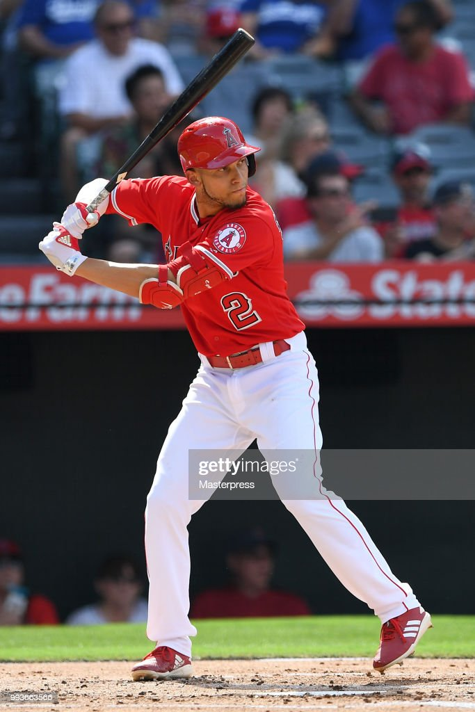 Andrelton Simmons #2 of the Los Angeles Angels of Anaheim at bat during the MLB against the Los Angeles Dodgers at Angel Stadium on July 7, 2018 in Anaheim, California.
