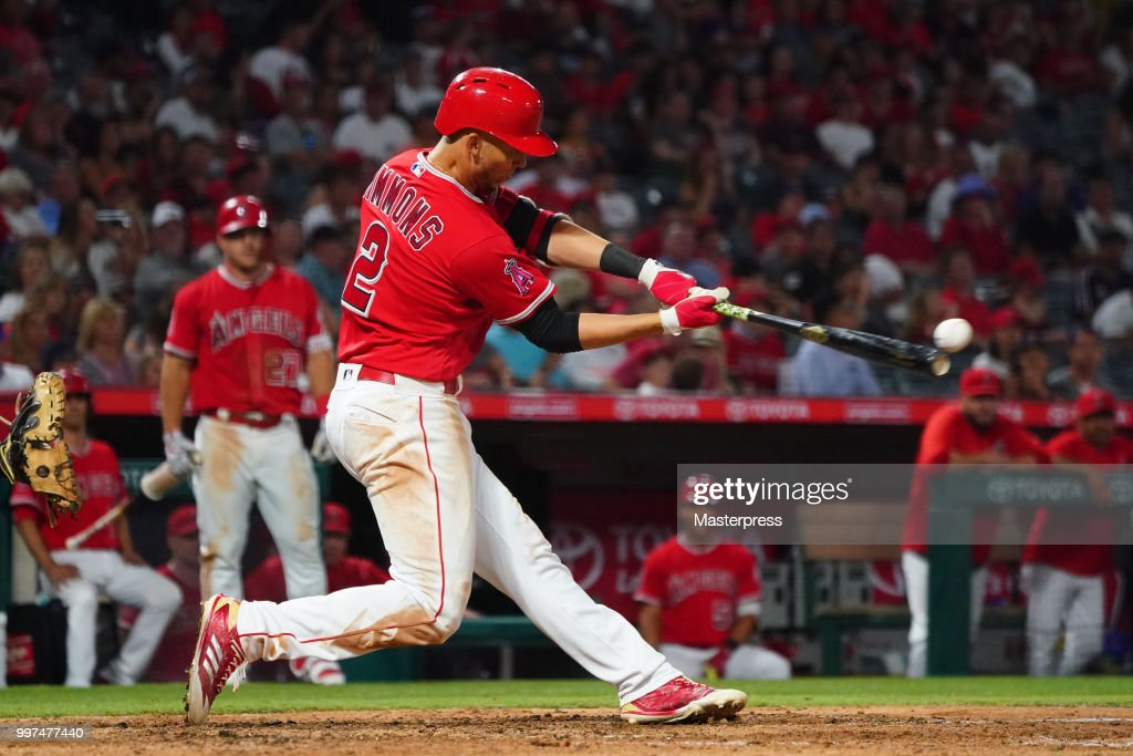 Andrelton Simmons #2 of the Los Angeles Angels of Anaheim at bat during the MLB game against the Seattle Mariners at Angel Stadium on July 12, 2018 in Anaheim, California.