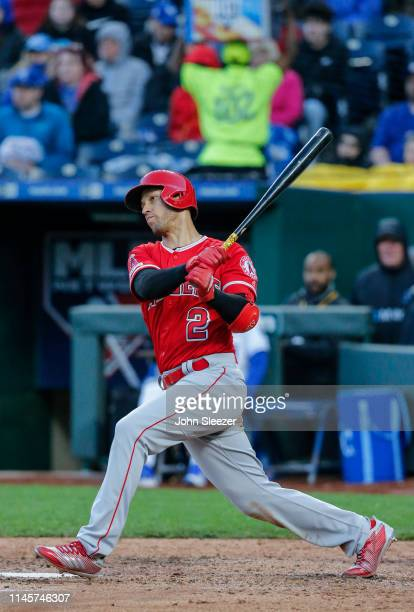 Andrelton Simmons of the Los Angeles Angels of Anaheim in the fourth inning during the game against the Kansas City Royals at Kauffman Stadium on...