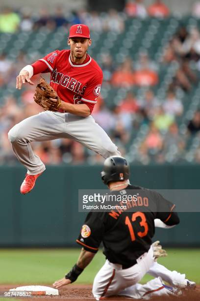 Andrelton Simmons of the Los Angeles Angels of Anaheim jumps over Manny Machado of the Baltimore Orioles as he turns a double play in the first...