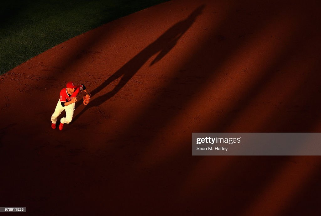 Andrelton Simmons #2 of the Los Angeles Angels of Anaheim runs to field a grounder hit by David Peralta #6 of the Arizona Diamondbacks during the inning of a game at Angel Stadium on June 19, 2018 in Anaheim, California.