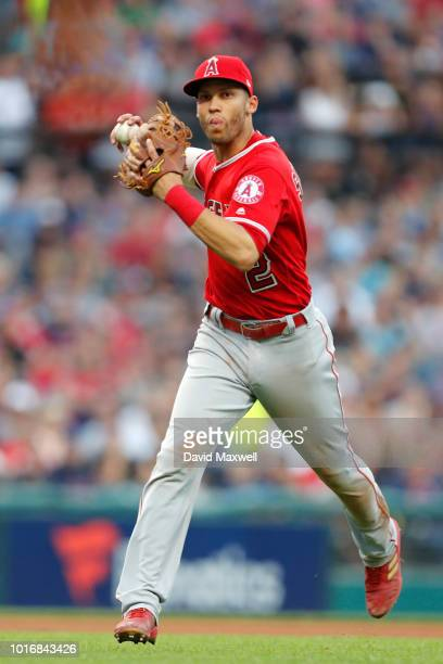 Andrelton Simmons of the Los Angeles Angels of Anaheim throws to first base against the Cleveland Indians in the fourth inning at Progressive Field...