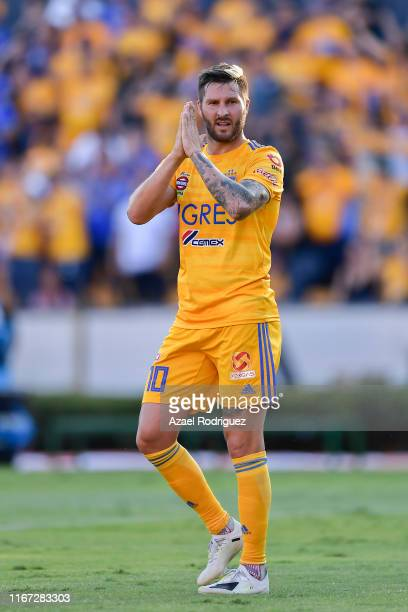 AndrePierre Gignac #10 of Tigres celebrates after scoring his team's first goal during the 4th round match between Tigres UANL and Necaxa as part of...