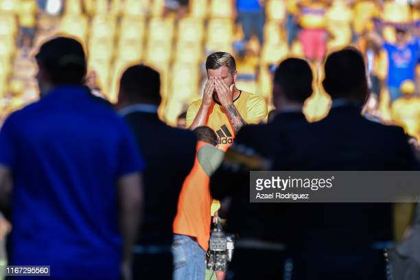 Andre-Pierre Gignac, #10 of Tigres, reacts during a homage for becoming the greatest goal scorer in the history of the club prior the 4th round match...